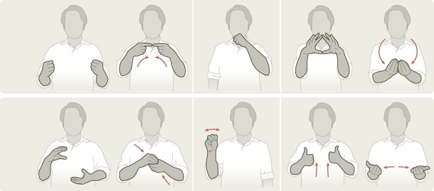 a graphic showing 10 human figures making sign motions with their hands and arms, demonstrating some of the new terms for scientific concepts.