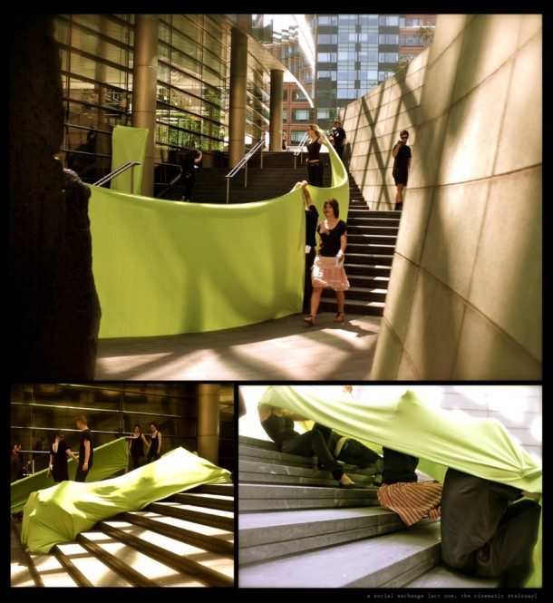 In these three images, Kim Walker's performers use a long chartreuse swath of fabric to drape and cover themselves and the underused surfaces of Exchange Square, London.