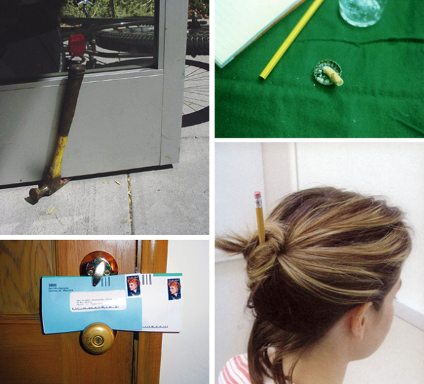 a montage of four thoughtless acts: a woman with a pencil through her gathered hair in a bun; a hammer wedged under a door with its curved head as the anchor weight; pieces of mail lodged between a door's knob and its lock.