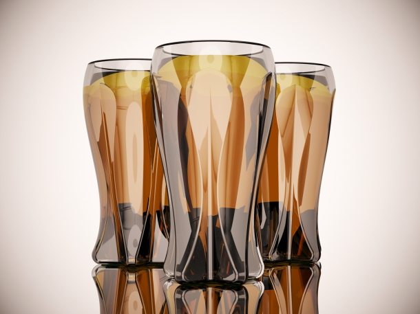 3 tall, amber-colored, double wall beer glasses, with a vertical star shape providing multiple ridges along the sides, a wider mouth and narrower base.