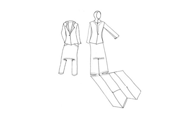 An artist's drawing of the design, in its incognito version at left, and unfolded, worn in worship mode at right