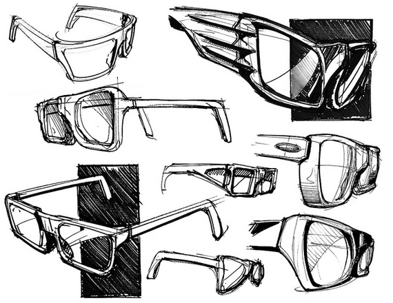 A black and white drawing of eyeglasses, sketched like a designer would: all shapes and sizes