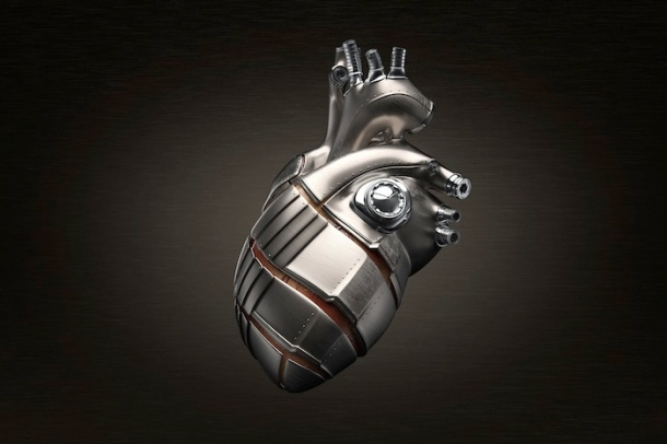 the human heart, set of lungs, and brain are encased in sleek metal armor, somewhere between jewelry and mechanical parts for machinery. They conform to the shapes of the organs precisely, showing their enigmatic structures, isolating their particular functions.