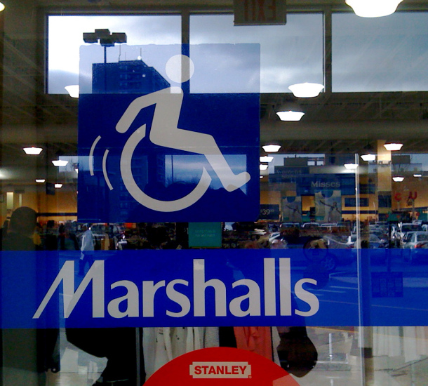 An accessibility icon at Marshalls in Cambridge, MA, showing a more dynamic, active figure, not unlike the one in our project.