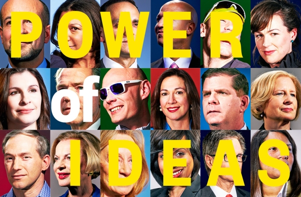 "Thumbnail portraits from the Boston magazine story, overlaid by text reading ""POWER OF IDEAS."""