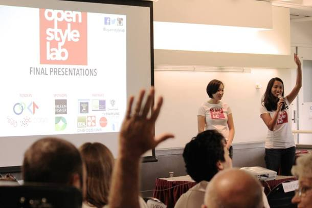 Grace and Alice, the founders of OPen Style Lab, take questions from the audience at their final presentation.