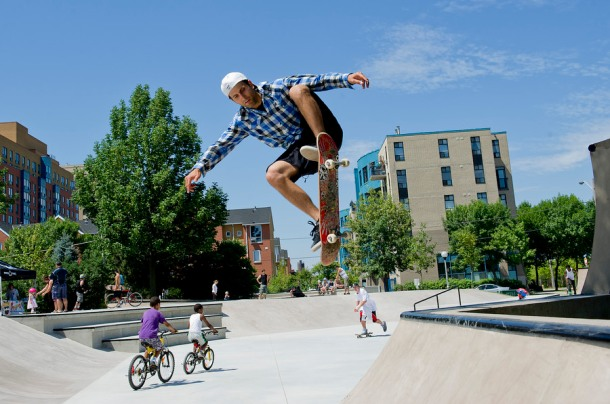 "Skater Ariel Stagni ""ollies"" over a crest at a skate park in Toronto."