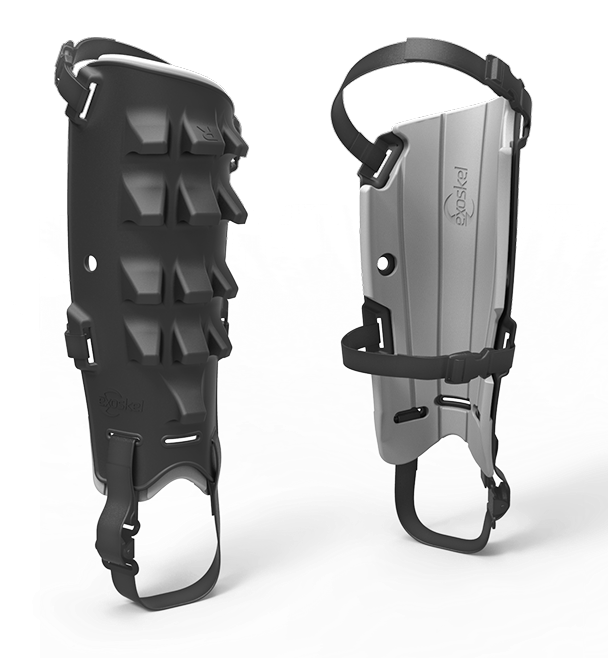 an image of the strap-on shin guards, with one strap behind the knee, and one to go under the foot.