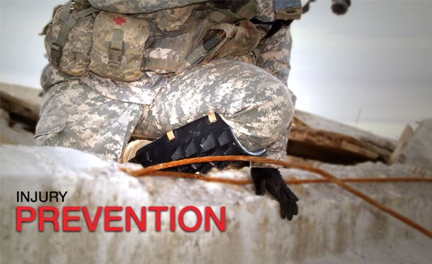 "The Exoskel shin guard helping a soldier in uniform scale a combat-damaged wall. The image has inset text advertising its ""injury prevention."""