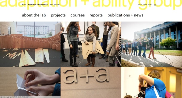 Screen shot of the a plus a home page: a grid of projects ranging from architecture to prosthetics, with the main menu across the top.